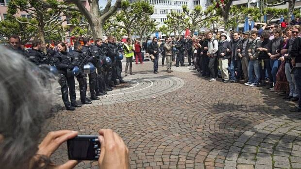 Activists and police square off during a Blockupy protest Thursday in Frankfurt, Germany. Organizers have called on tens of thousands of activists to take part in four days of protests aimed at occupying the central Frankfurt financial district.