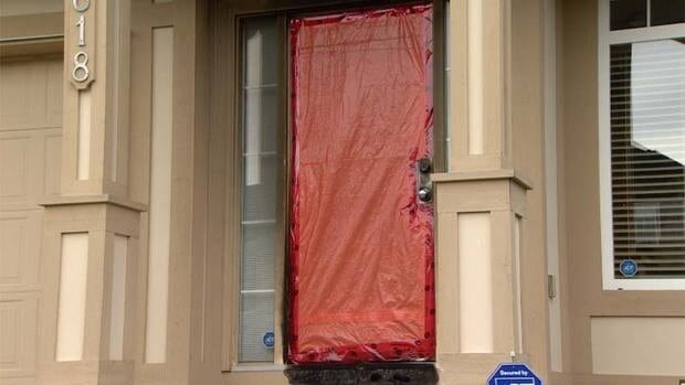 The front-door area of this Cloverdale townhome was extensively damaged by an arsonist.