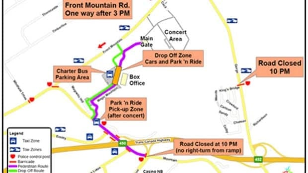 The traffic plan for Sunday's Bruce Springsteen concert at Magnetic Hill.