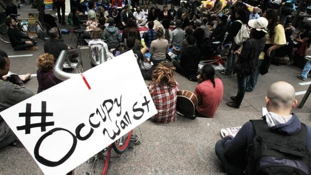 Occupy Wall street protesters gather in Zuccotti Park in New York City in October 2011.