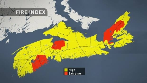 Nova Scotia's forest fire index, released Tuesday, shows six counties at extreme levels for risk of fire with the rest of the province at a high risk.