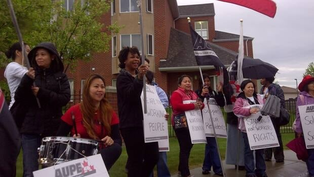 About 80 workers at Revera Riverbend Retirement Living Workers in southwest Edmonton walked off the job Tuesday morning over wages.