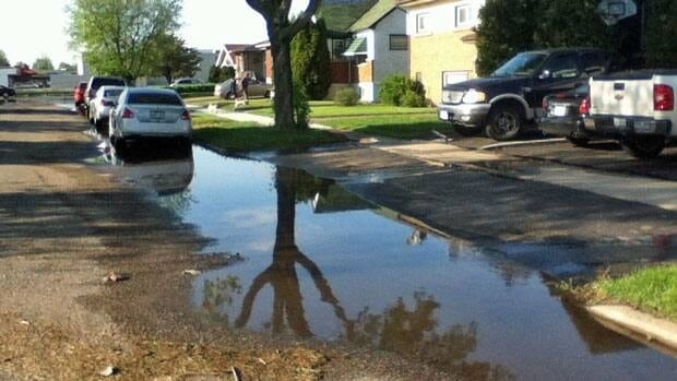 On Monday, water was continually being pumped out from basements on North Brodie Street in Thunder Bay.