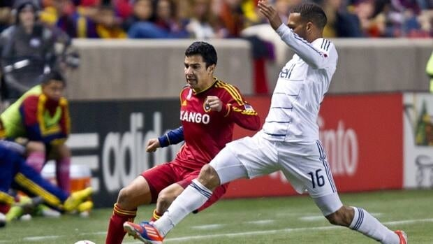 Real Salt Lake defender Tony Beltran passes against the Vancouver Whitecaps FC on Saturday, Oct. 27, 2012, at Rio Tinto Stadium in Sandy, Utah. RSL and the Whitecaps played to a 0-0 draw.