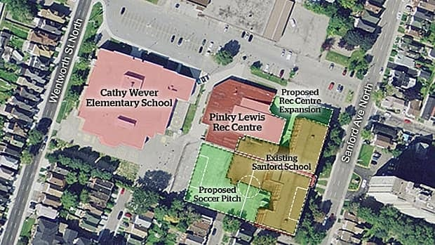 Here's an aerial view of what might replace Sanford Avenue school if it is demolished.