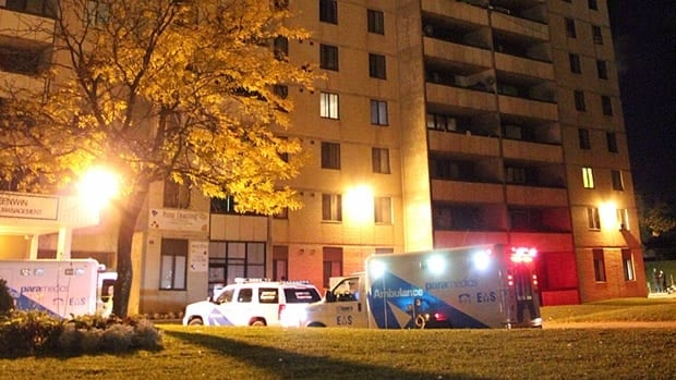 A man in his 20s was found shot dead inside this apartment building at 25 San Romanoway, near the corner of Jane Street and Finch Avenue.