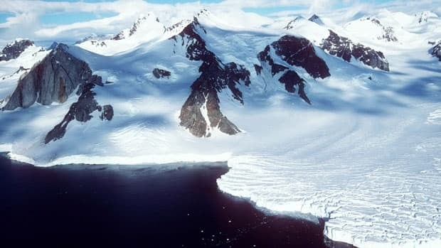 A glacier meets the ocean at Marguerite Bay on the Antarctic Peninsula.