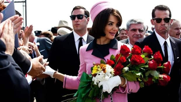 Katie Holmes portrays Jacqueline Kennedy in a scene from the eight-part, Toronto-shot miniseries The Kennedys.