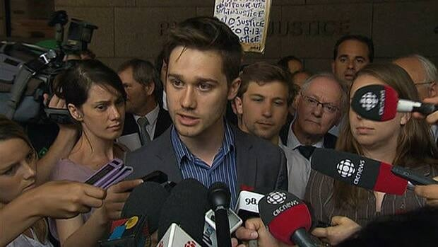 Student leaders address the media outside the Montreal courthouse after two motions challenging Bill 78 were filed.