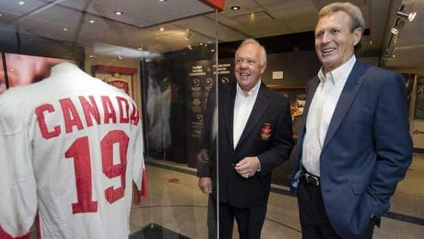 Paul Henderson, right, scored the winning goals in Games 6, 7 and 8 of the 1972 Summit Series, propelling Canada to a 4-3-1 series victory.