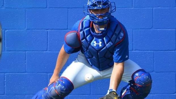 "Sal Fasano, who managed catcher Travis d'Arnaud, shown here, at AA New Hampshire last season, believes the Blue Jays' top prospect has done a really good job receiving and blocking. ""His throwing is still on the upswing. He's got a really plus arm so now it's just a matter of getting the timing with his exchange."""