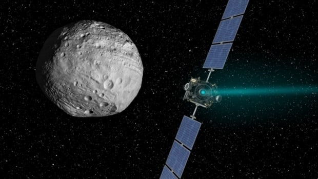 An artist's concept of the NASA spacecraft Dawn, right, and Vesta, one of the largest asteroids in the solar system. Dawn was to leave Vesta's orbit Wednesday and begin its three-year journey to Ceres, the largest celestial body in the asteroid belt between Mars and Jupiter.