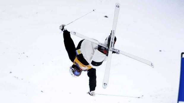 Mikael Kingsbury from Quebec jumps for 1st place during finals in the 2012 Grand Prix Freestyle Ski World Cup in Calgary on Saturday.