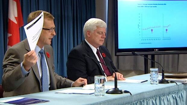 Natural Resources Minister Jerome Kennedy and Nalcor CEO Ed Martin speak to reporters.