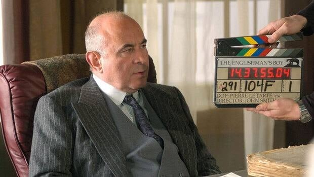 Actor Bob Hoskins is shown on the set of Canadian miniseries The Englishman's Boy based on the novel by Guy Vanderhaeghe.