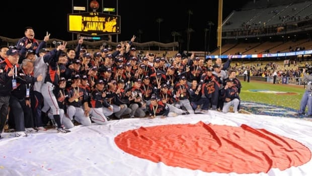 Japan celebrates a 5-3, 10-inning win over Korea in the World Baseball Classic final at Dodger Stadium on March 23, 2009.