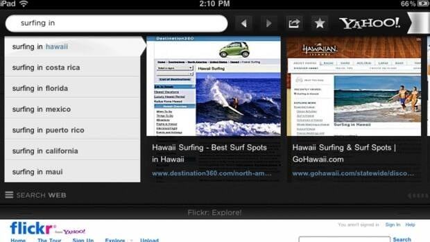 A partial screen grab of the Axis app for the iPad, which displays search results as a panorama of visual thumbnails rather than a list of links.