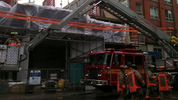Toronto Fire Services work to rescue a construction worker hurt during an industrial accident on Saturday.