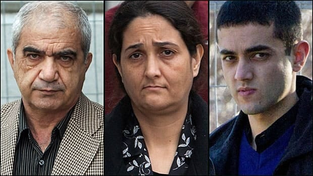 From left to right, Mohammad Shafia, 59, Tooba Yahya, 42, and Hamed Shafia, 21.