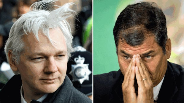 A two-picture combo shows from left, WikiLeaks founder Julian Assange, and Ecuador's President Rafael Correa. Assange appears to be persuaded that Ecuador offers his best shot at avoiding extradition to Sweden.
