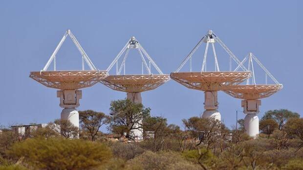 Antennas of the Australian Square Kilometre Array Pathfinder (ASKAP) telescope.