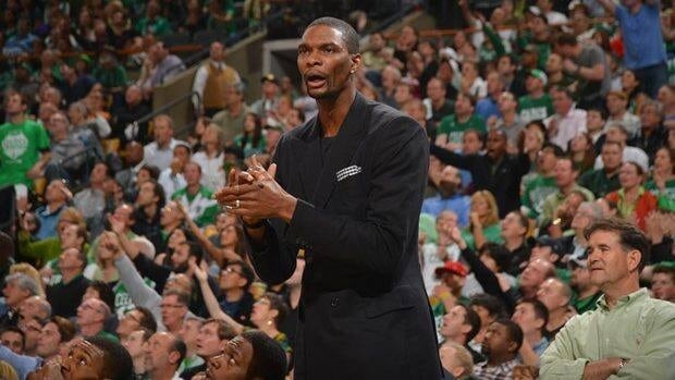 Miami Heat forward Chris Bosh has been sidelined an abdominal strain.