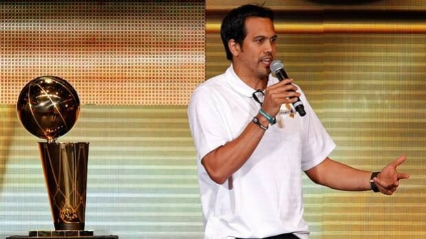 Miami Heat head coach Erik Spoelstra speaks at Monday's pep rally at AmericanAirlines Arena.