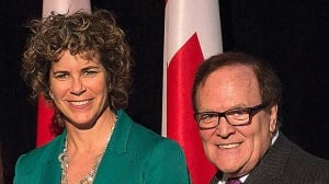 Former Olympic great Marnie McBean and Canadian Olympic Committee president Marcel Aubut helped promote Thursday's fundraising kickoff.