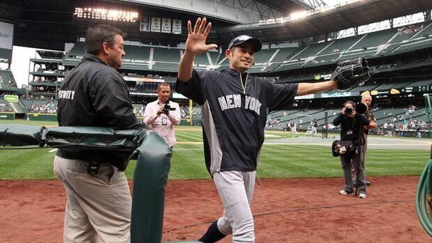 New York Yankees' Ichiro Suzuki before the game against the Seattle Mariners, Monday, July 23, 2012, in Seattle.
