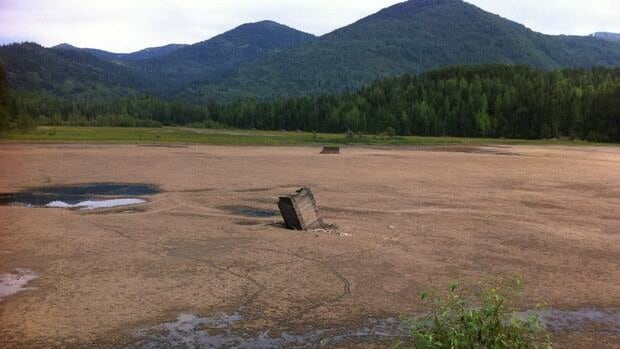 The tailings pond near Salmo, B.C., after a partial dam collapse forced the Regional District of Central Kootenay to drain the water that had transformed the tailings pond into a small lake