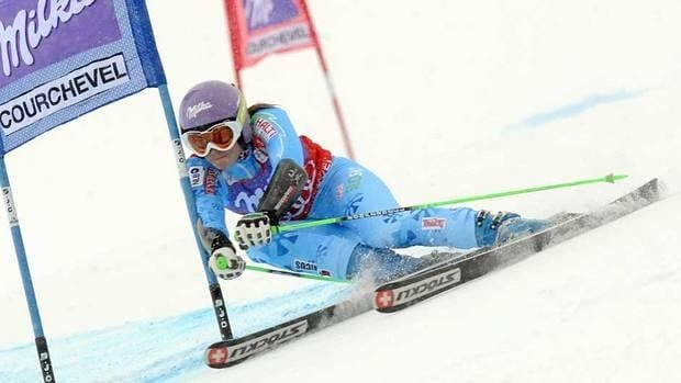 Slovenia's Tina Maze competes during the first run of the women's World Cup Giant Slalom in Courchevel, France on Sunday.