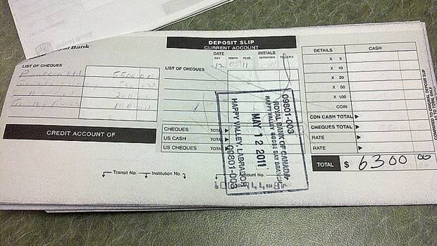 A deposit slip filed with Elections Canada by Labrador MP Peter Penashue's campaign shows a bank deposit of $5,500 under the name of Pennecon Ltd.
