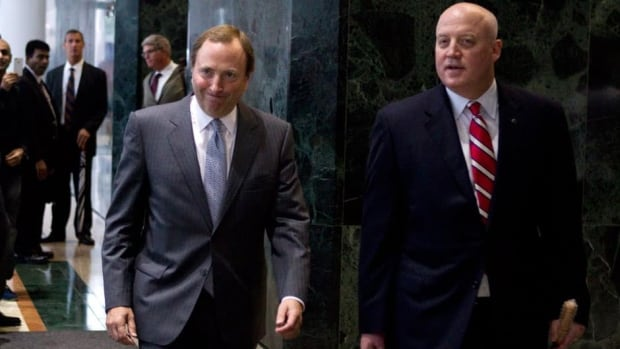 NHL Deputy Commissioner Bill Daly, right, shown alongside Gary Bettman, had a meeting with NHLPA special counsel Steve Fehr on Tuesday.