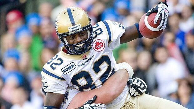 Winnipeg Blue Bombers' Terrence Edwards celebrates a touchdown against the Montreal Alouettes in September 2011.