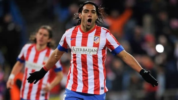 Atletico Madrid's Radamel Falcao celebrates after scoing against Deportivo la Coruna at Vicente Calderon in Madrid on December 09, 2012.