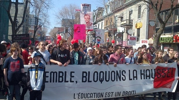 Thousands gathered in Parc Lafontaine in Montreal before marching down Saint Denis Street towards the offices of the Ministry of Education.