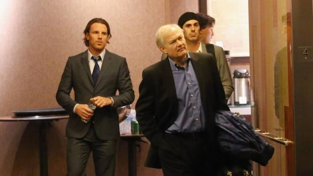NHLPA executive director Donald Fehr leaves after a lengthy negotiating session between the league and players on Wednesday.