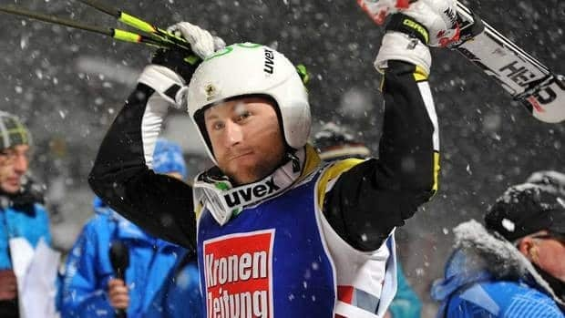 Canada's second placed Brady Leman celebrates after the men's ski-cross final at the World Cup ski event in St. Johann in Tyrol, Austria on Saturday.