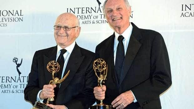 Alan Alda, right, and Norman Lear pose after winning Special Founders Awards at the 40th International Emmy Awards in New York.