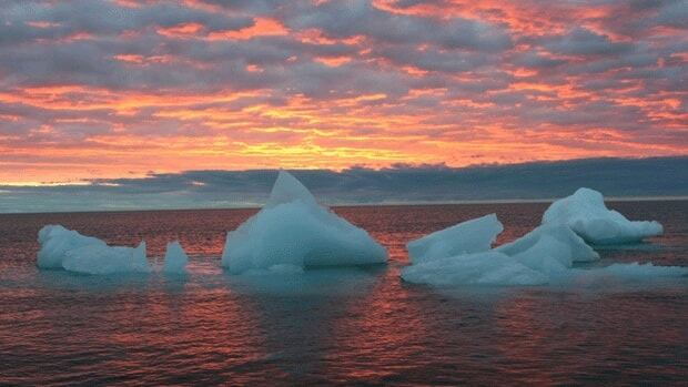 Ice chunks float in the Arctic Ocean as the sun sets near Barrow, Alaska. The ocean is being studied as a possible source of methane gas, after NASA researchers recorded higher-than-normal levels of the greenhouse gas during an airborne study.