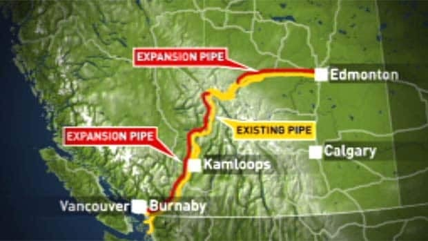 The project calls for twinning most of the Kinder Morgan pipeline bewteen Alberta and Metro Vancouver