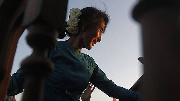 Nobel laureate Aung San Suu Kyi says tough sanctions against her native Myanmar are helping the pro-democracy efforts there. Suu Kyi, seen at an election campaign rally in a village in Myanmar Sunday, spoke to CBC's Evan Solomon over an internet link with Carleton University Wednesday.