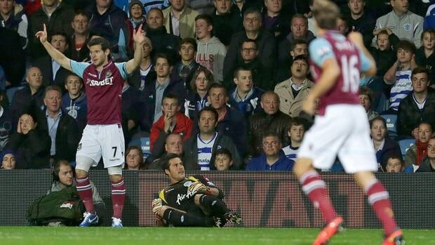 West Ham's Matt Jarvis celebrates after scoring the opening goal against Queens Park Rangers on Monday.