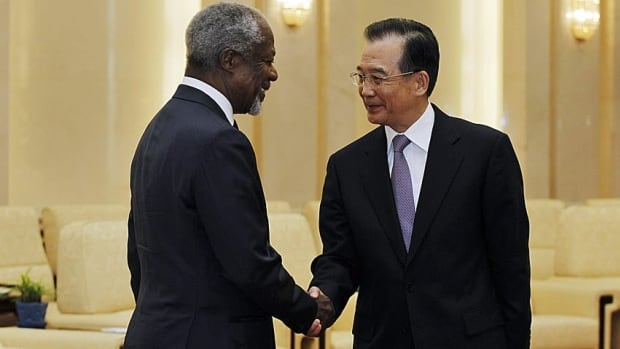 A spokesman for UN envoy Kofi Annan says Syria has accepted Annan's peace plan for the country. Annan, left, was in Beijing Tuesday meeting with Premier Wen Jiabao. The former secretary-general said he'd had good discussions with Chinese officials, and they offered their full support.