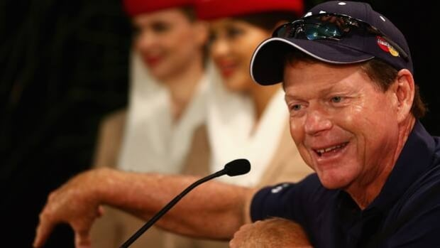 Tom Watson talks to reporters at The Lakes Golf Club in Sydney, Australia, on Tuesday.