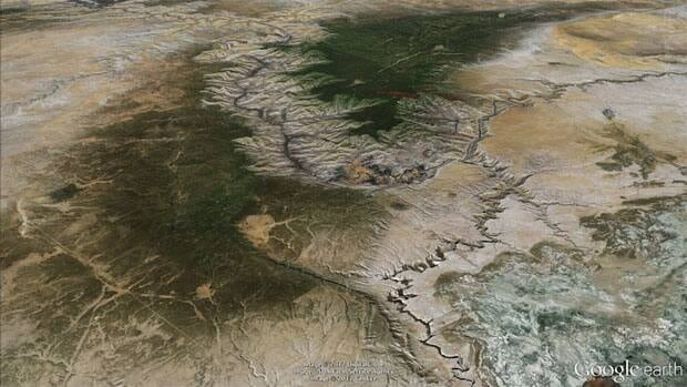 An image of the Grand Canyon from Google Earth.