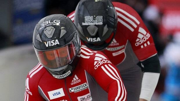 Canada's Lyndon Rush, front, and Jesse Lumsden start their first heat in the men's two-man bobsleigh world championships in Lake Placid, N.Y., on Saturday, Feb. 18, 2012.