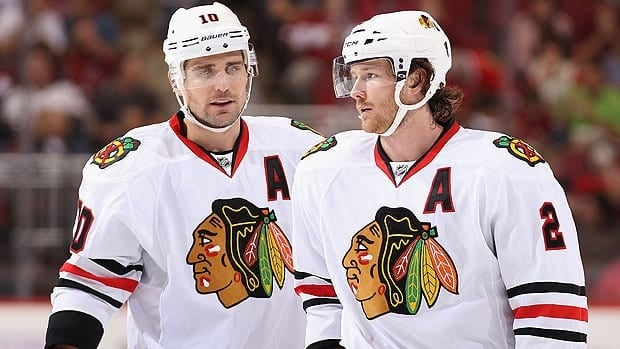 Duncan Keith, right, and Patrick Sharp of the Chicago Blackhawks are returning to the world championships for Canada.