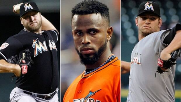 Former Miami Marlins players, from left, pitcher Mark Buehrle, shortstop Jose Reyes, and pitcher Josh Johnson were all officially dealt to the Toronto Blue Jays on Monday.