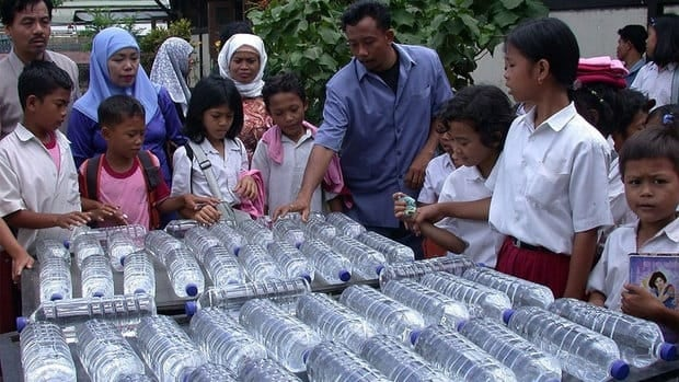 Water is treated by the solar water disinfection method in Indonesia. If the water is too murky, the sun's UV and infrared rays won't kill any microbes.